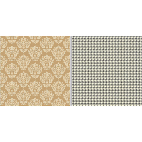 Teresa Collins - Fabrications Collection - Linen - 12 x 12 Double Sided Paper - Tan Damask