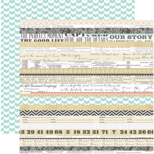Teresa Collins - Family Stories Collection - 12 x 12 Double Sided Paper - Multi Stripe