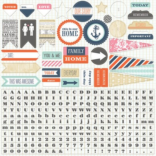 Teresa Collins - Family Stories Collection - 12 x 12 Cardstock Stickers
