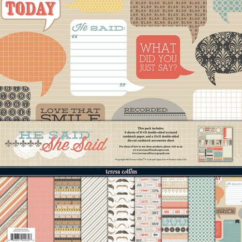 Teresa Collins - He Said She Said Collection - 12 x 12 Paper and Accessories Pack
