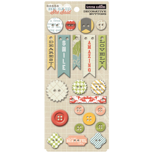 Teresa Collins - He Said She Said Collection - She Said - Chipboard Buttons