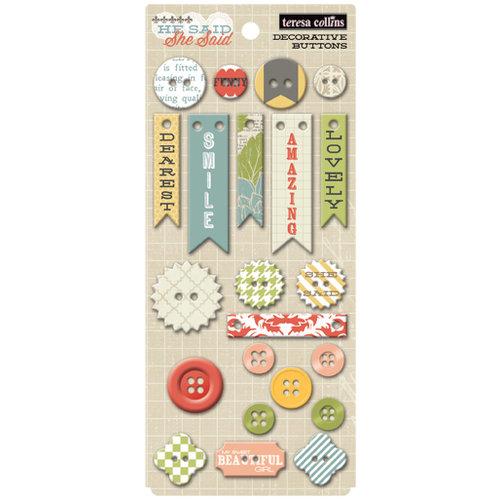 Teresa Collins - He Said She Said Collection - She Said - Chipboard Buttons