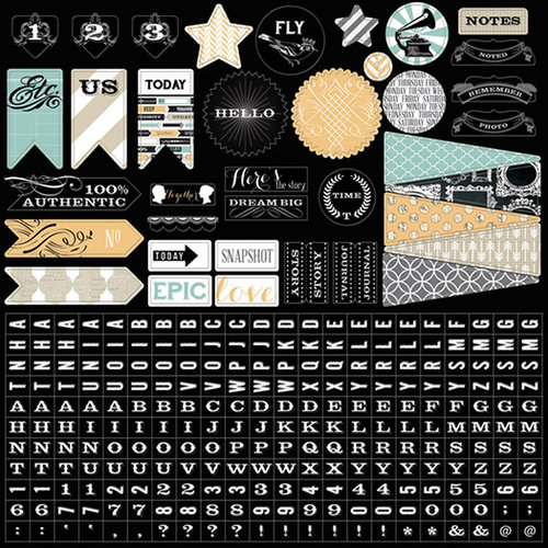 Teresa Collins - Memorabilia Collection - 12 x 12 Cardstock Stickers
