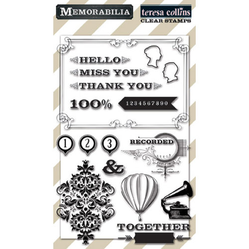 Teresa Collins - Memorabilia Collection - Clear Acrylic Stamps