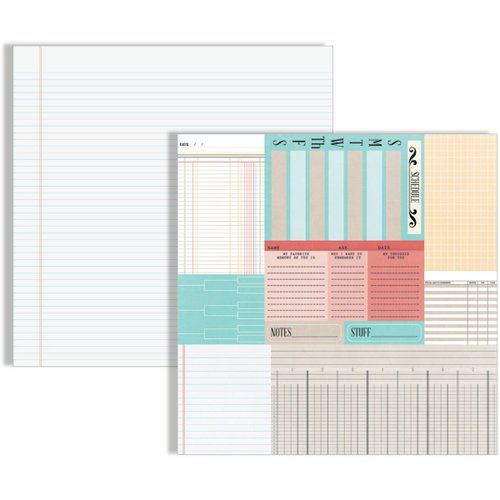 Teresa Collins Designs - Memories Collection - 12 x 12 Double Sided Paper - Ledger Cards