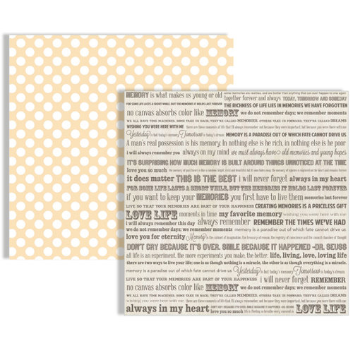 Teresa Collins - Memories Collection - 12 x 12 Double Sided Paper - Words