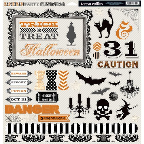 Teresa Collins Designs - Masquerade Party Collection - 12 x 12 Die Cut Chipboard Stickers