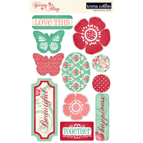 Teresa Collins - Spring Fling Collection - Die Cut Chipboard Stickers - Elements