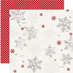 Teresa Collins - Santas List Collection - 12 x 12 Double Sided Paper with Glitter Accents - Snowflakes