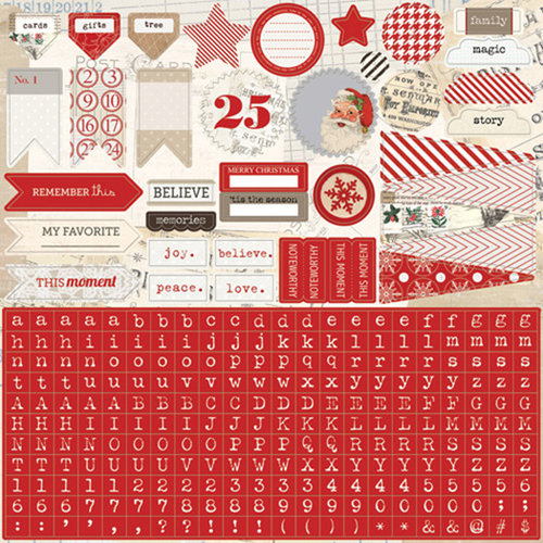 Teresa Collins - Santas List Collection - 12 x 12 Cardstock Stickers