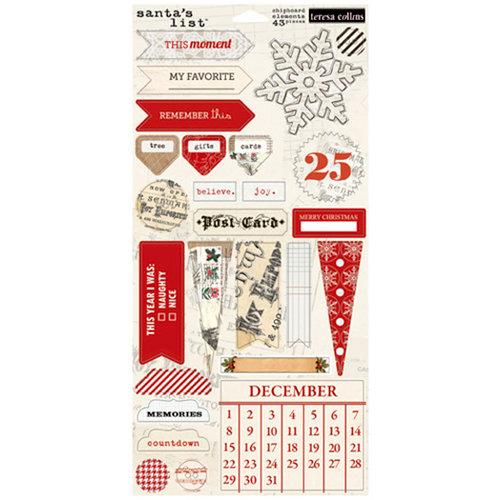 Teresa Collins Designs - Santas List Collection - Die Cut Chipboard Stickers