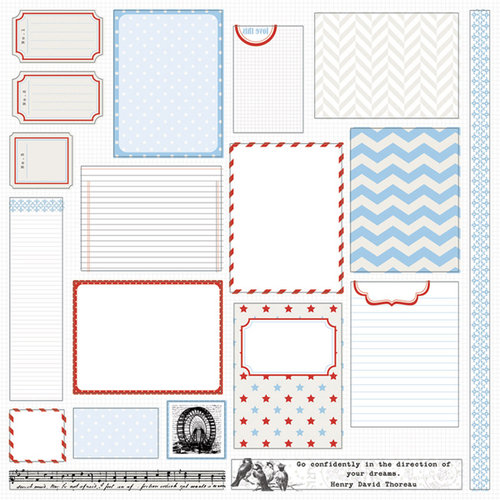 Teresa Collins - Stationery Noted Collection - 12 x 12 Die Cut Paper