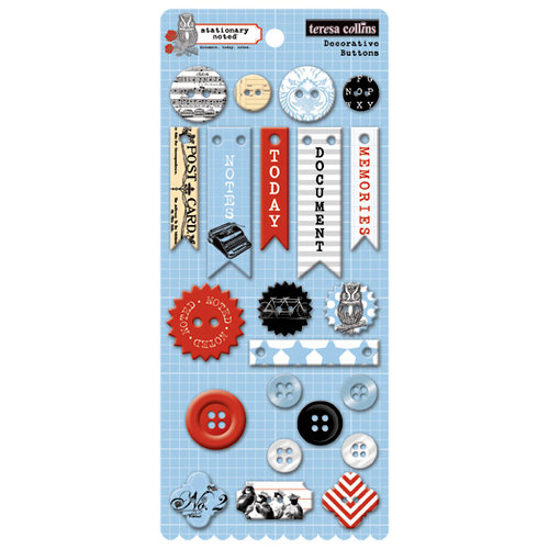 Teresa Collins - Stationery Noted Collection - Chipboard Buttons
