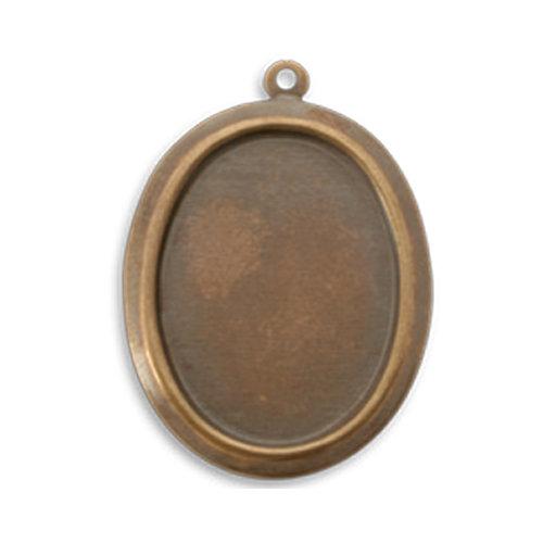 Vintaj Metal Brass Company - Metal Jewelry Charm - Oval Bezel