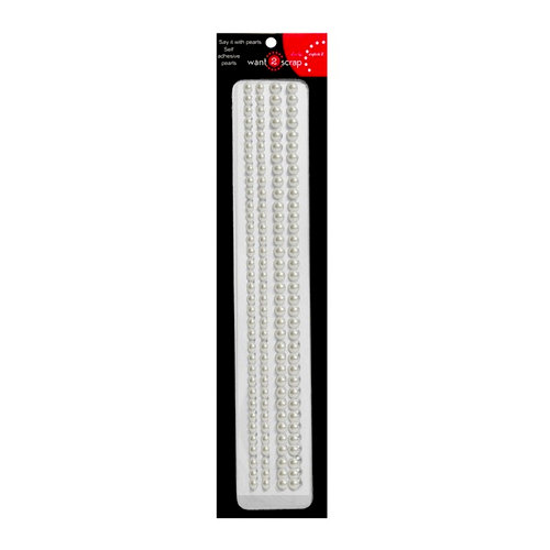 Want2Scrap - Say it With Bling - Adhesive Pearls - Sleek Strips - White