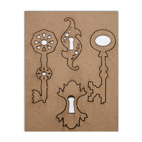 Want2Scrap - Chipboard Pieces - Antique Keys and Keyholes