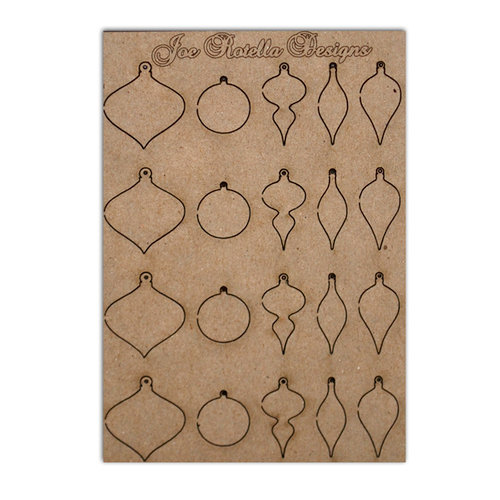 Want2Scrap - Chipboard Pieces - Retro Christmas Ornaments - Card Size