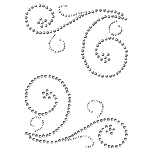 Want2Scrap - Say it With Bling - Self Adhesive Rhinestones - Swirls - Silver