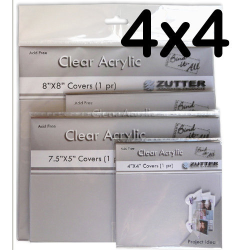 Bind It All - Zutter - Clear Acrylic Covers - 4x4, BRAND NEW