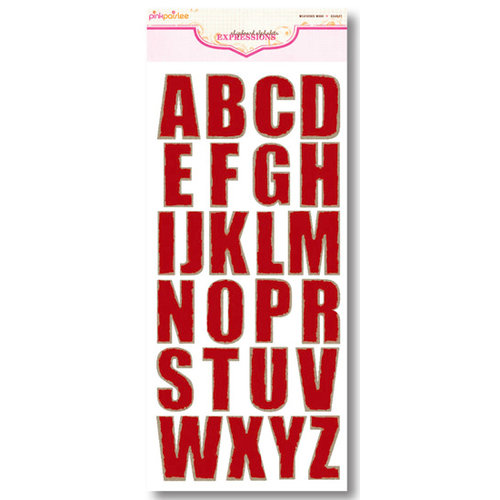 Pink Paislee - Expressions Collection - Chipboard Alphabet Stickers - Weathered Wood - Scarlet