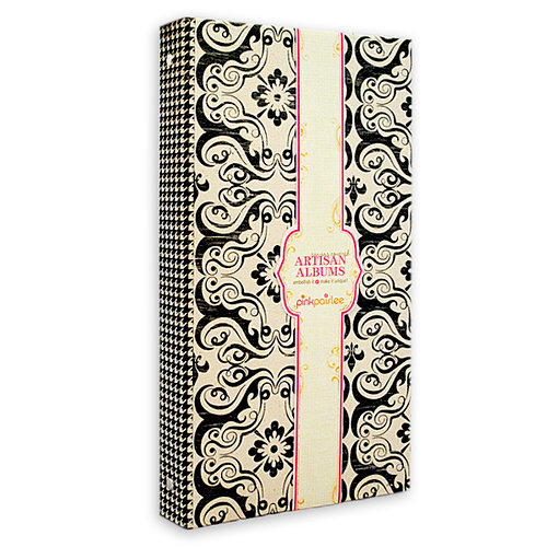 Pink Paislee - Artisan Collection - 6 x 12 Canvas Album - Black