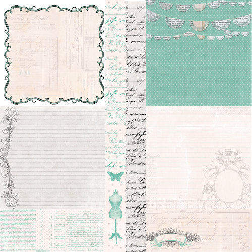 Pink Paislee - House of Three - Parisian Anthology Collection - 12 x 12 Double Sided Paper - Parisian Elements