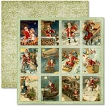Pink Paislee - Father Christmas Collection - 12 x 12 Double Sided Paper - Trading Cards, BRAND NEW