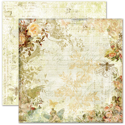 Pink Paislee - Butterfly Garden Collection - 12 x 12 Double Sided Paper - Flower Blooms