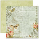 Pink Paislee - Butterfly Garden Collection - 12 x 12 Double Sided Paper - Butterfly Wings