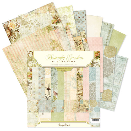 Pink Paislee - Butterfly Garden Collection - 12 x 12 Paper Pack