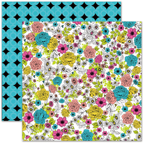 Pink Paislee - House of Three - Soiree Collection - 12 x 12 Double Sided Paper - Floral