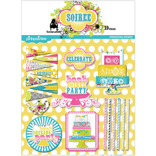 Pink Paislee - House of Three - Soiree Collection - 3 Dimensional Stickers with Glitter Accents