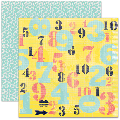 Pink Paislee - House of Three - Daily Junque Collection - 12 x 12 Double Sided Paper - Numbers