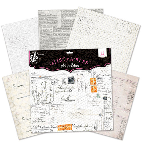 Pink Paislee - Mistables Collection - 12 x 12 Resist Paper Pack