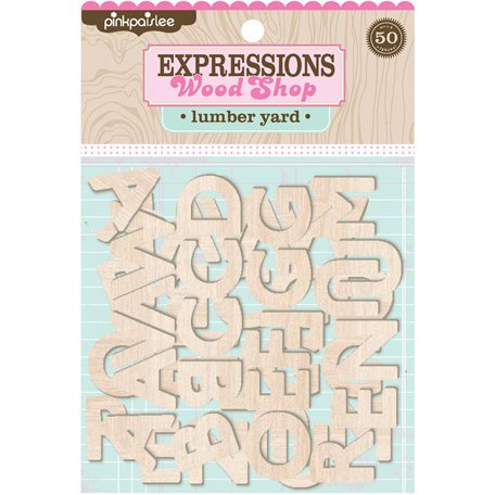 Pink Paislee - Wood Shop Collection - Wood Pieces - Alphabet - Lumberyard