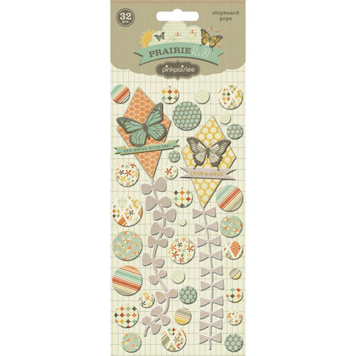 Pink Paislee - Prairie Hills Collection - Chipboard Pops - 3 Dimensional Stickers with Glossy Accents