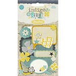 Pink Paislee - Indigo Bleu Collection - Glittered Die Cut Tags and Bits - Chat Clouds