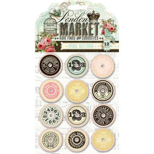 Pink Paislee - London Market Collection - Spool Buttons