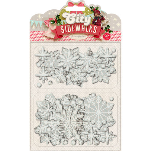 Pink Paislee - City Sidewalks Collection - Christmas - Glitter Chipboard Pieces - Snowflakes