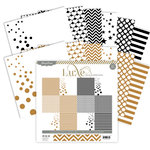 Pink Paislee - Luxe Collection - 12 x 12 Paper Pack - Copper and Black