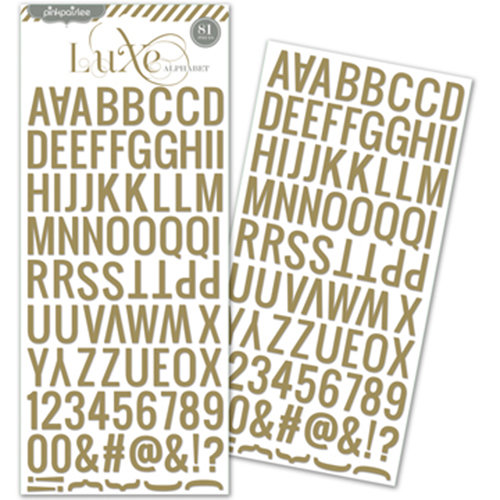 Pink Paislee - Luxe Collection - Glitter Sticker - Alphabet - Gold