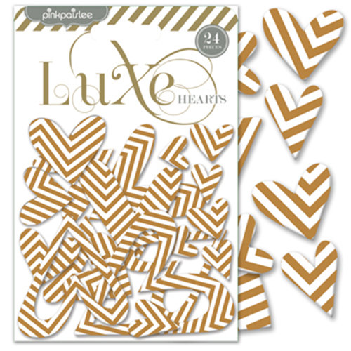 Pink Paislee - Luxe Collection - Foil Chipboard Shapes - Hearts