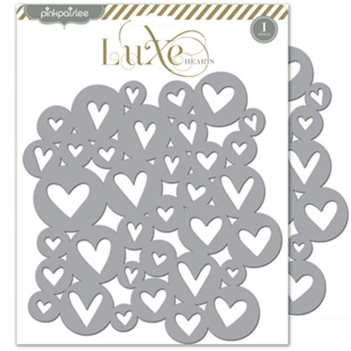 Pink Paislee - Luxe Collection - 8 x 8 Metallic Chipboard Place Mat - Hearts