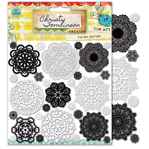 Pink Paislee - She Art Collection - Rub Ons - Doily