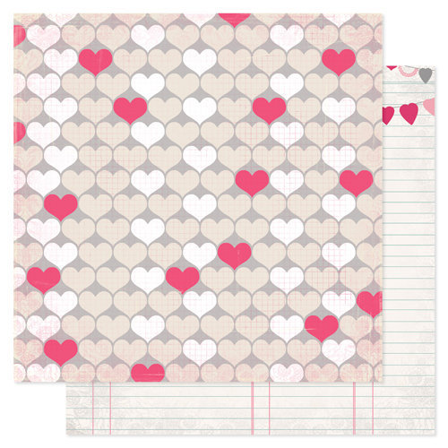Pink Paislee - Secret Crush Collection - 12 x 12 Double Sided paper - Heartbeat