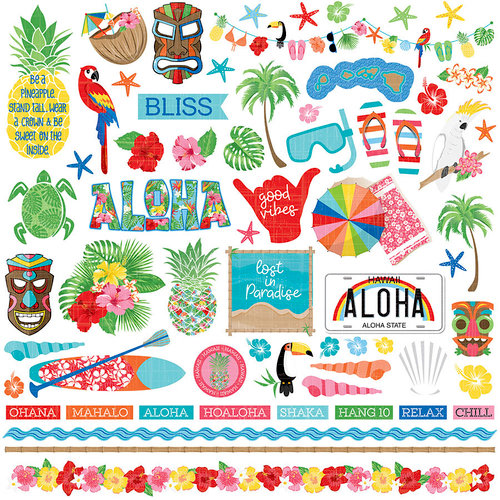 Photo Play Paper - Aloha Collection - 12 x 12 Cardstock Stickers - Elements