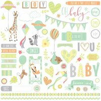 Photo Play Paper - About a Little Boy Collection - 12 x 12 Cardstock Stickers - Elements