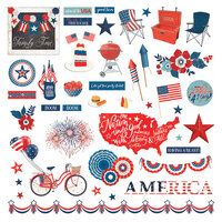 Photo Play Paper - America The Beautiful Collection - 12 x 12 Cardstock Stickers - Elements
