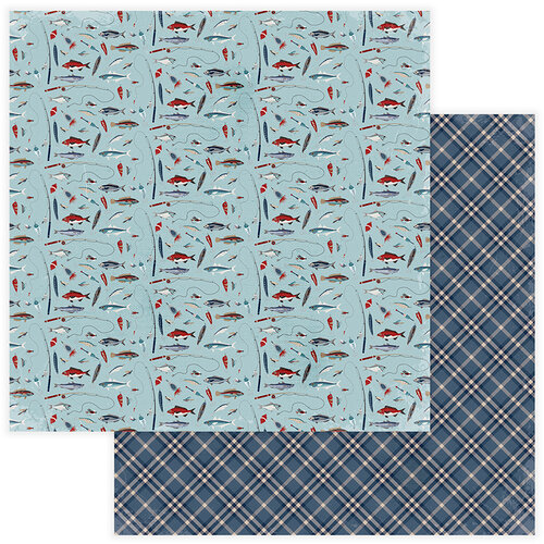 Photo Play Paper - Best Dad Ever Collection - 12 x 12 Double Sided Paper - Gone Fishin'