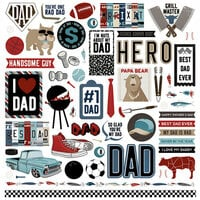 Photo Play Paper - Best Dad Ever Collection - 12 x 12 Cardstock Stickers - Elements